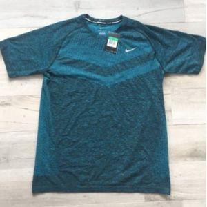 Nike Mens Dri FIT Knit Short Sleeve Shirt Teal XL